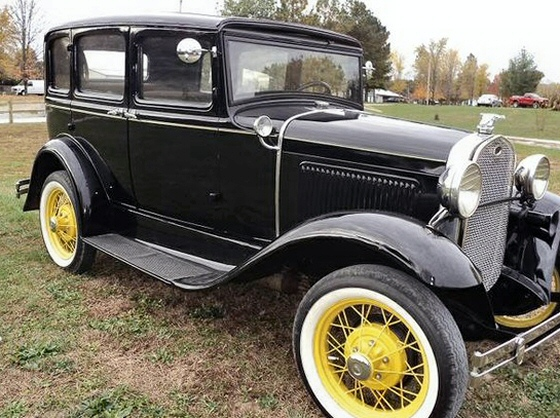 Photo of 1931 Model A Ford Slant Windshield Sedan. Older Restoration