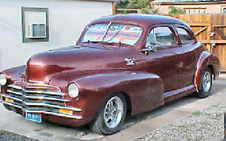 1948 Maroon Chevy Coupe Street Rod