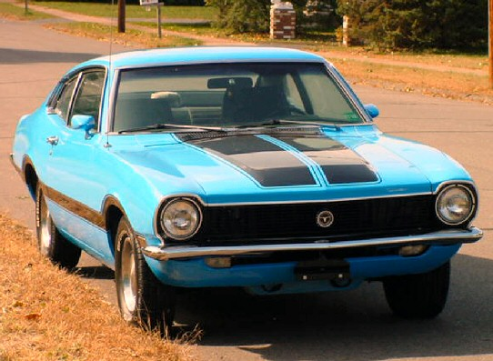 1970 Ford Maverick Grabber - 2 door, am/fm 8-track stereo,